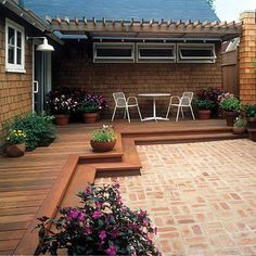 Wood deck transition to brick patio