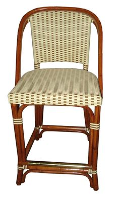 WA HOO DESIGNS, FRENCH BISTRO BAR STOOL HK-814, Weave: L1H2 Matte Cream Matte Moka Alternating Binding Wood Finish: Dark Honey