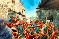 The Bar Kokhba War AD by Peter Dennis. The figure on the immediate left is the artist himself. Ancient Rome, Ancient Art, Ancient History, Jewish History, Roman History, Military Art, Military History, Roman Armor, Rome Art