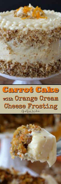 Carrot Cake with Orange Cream Cheese Frosting is an incredibly moist carrot cake recipe topped with the best cream cheese frosting. Moist Carrot Cakes, Best Carrot Cake, Baking Recipes, Cake Recipes, Dessert Recipes, Carrot Recipes, Sweet Recipes, Just Desserts, Delicious Desserts