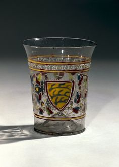 Venetian glass beaker, probably Murano, c. 1330. Unknown provenance found on the Web Renaissance Artworks, Purple Outfits, Venetian Glass, Middle Ages, Shot Glass, Medieval, Clothing, Outfits, Purple Gowns