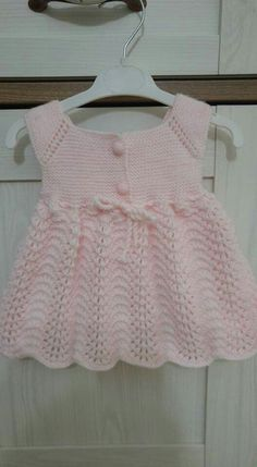 Knit Baby Dress Baby Knitting Patterns Layette Crochet Designs Crochet Clothes Gifts For Kids Knitwear Tea Sets Baby Dresses Crochet Baby Dress Pattern, Knit Baby Dress, Baby Dress Patterns, Knitted Baby Clothes, Baby Knitting Patterns, Knitting Baby Girl, Knitting For Kids, Baby Vest, Baby Cardigan