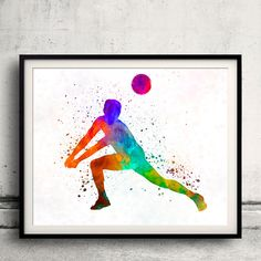 Volley ball player man 03 in watercolor - Fine Art Print Glicee Poster Home Watercolor sports Gift Room Illustration Wall - SKU 2310 by Paulrommer on Etsy