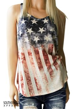American Flag, Red, White & Blue, Patriotic Pride Tank great for any music festival or just looking cute  I ship Priority, the postal service