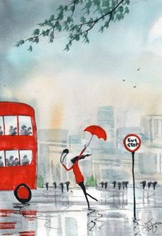Original Signed Watercolour Painting ~ Rainy Day, Running Late ! ~ By KJ CARR