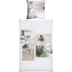 Hier ist Bettwäsche nach Ihrem Geschmack: Der Deckenbezug punktet mit seiner Optik: Zarte Lotosblumen und filigrane Linien im Sand strahlen Ruhe und Entspannung aus. Auf nach Asien!