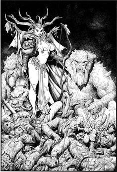 Arthur Adams - Graphic Design print on canvas, print on wood, print on steel or print on paper Comic Book Artists, Comic Artist, Comic Books Art, Dark Fantasy, Fantasy Girl, Chacun Son Tour, Bd Comics, Sword And Sorcery, Graphic Design Print