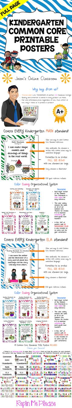 KINDERGARTEN COMMON CORE POSTERS - Save a ton of time by buying our FULL PAGE SIZE pre-made Common Core color coded posters with detailed visual examples.  We also offer half-sized posters which can be found at our TpT store. $$