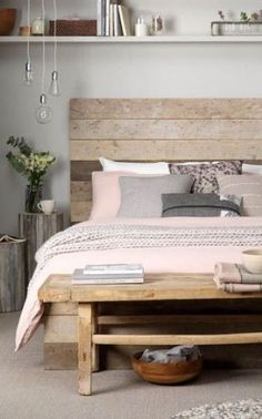 Wood Headboard with pink bedding