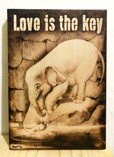 """Love is the key"" Elephant and fish. Design and pyrography by Heart Pyr Fish Design, Pyrography, Pet Birds, Elephant, Key, Watercolor, Heart, Handmade, Animals"