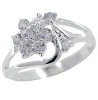 Rings - size 8 cz daisy sterling silver ring Image.