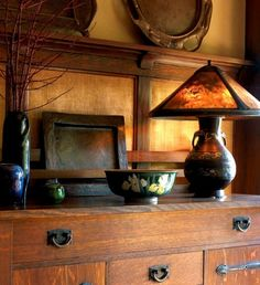 In Arts & Crafts design, lamps (this one antique) are themselves works of art.