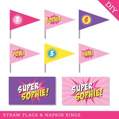 Pink Superhero party - Personalized DIY printable straw flags and napkin rings
