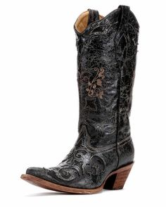 These are the boots my hubby bought me last year for Christmas!! Love them!! Women's Distressed Black Lizard Inlay Cowboy Boot - C2108