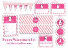 Puppy Valentine Printables For Parties or Home Use Free Printables adorable puppy design to brighten your Valentine's Day
