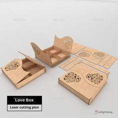 Buy Love Box - Laser cut by tofighch on GraphicRiver. Laser Cut Box, Laser Cutting, Wood Laser Ideas, Laser Cut Lamps, Creative Box, Love Box, Sweet Box, Laser Cut Files, Wooden Boxes