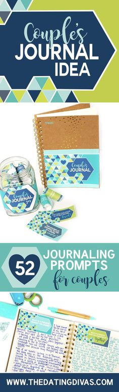Couple's Journal Idea- Free printables to help you start your own couple's journal. 52 journal prompts (one for each week of the year!) to strengthen your marriage!