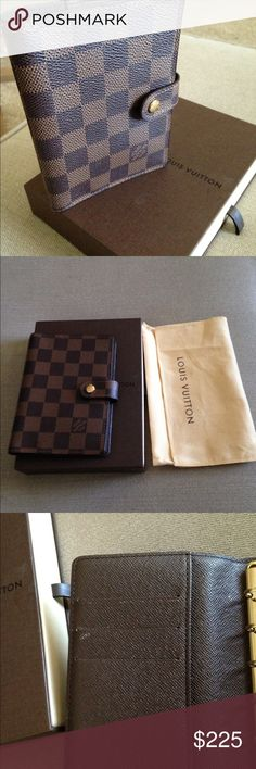 Authentic Louis Vuitton Diary Cover Agenda PM Authentic Louis Vuitton Agenda. Comes with box and dust bag. Made is Spain. Code CA1069. With 10.5 cm Height 14.5  Depth 1.5 cm.  Good condition small stain on left pocket. Louis Vuitton Bags Clutches & Wristlets