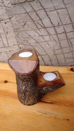 Rustic Wood Candle Holders Wooden Candle Holders by latwoodcustoms, $21.00