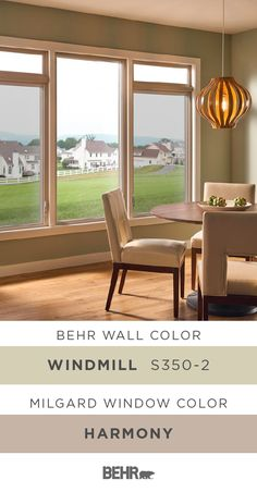 A new coat of Behr Paint in Windmill adds a cozy style to the walls of this dining room. Combined with the neutral shade of Harmony, featured on these Picture & Casement windows by Milgard, it creates a traditional space that still feels modern and chic. Click below for full paint color details to learn how you can create this look in your home.