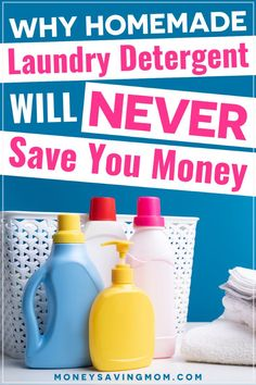 Have you been making your own homemade laundry detergent, hoping it would help out on your grocery bill? Read this as to why it's not saving you money. Tons of great info here!! #homemadelaundrydetergent #savingmoney #frugaltips