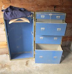Early 1900's Black Steamer Wardrobe Trunk with Blue Fabric Interior and Wooden Hangers - J.E.R Chicago ILL. by PortlandRevibe on Etsy