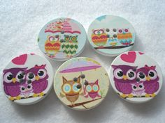 30mm Wood Buttons with Mixed Owl Prints WW3038m Pack of 5 Owl Buttons by berrynicecrafts on Etsy