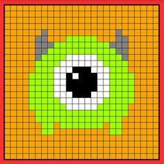 Mike tsum tsum perler bead hama bead crochet graphghan pattern