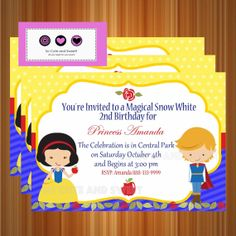 Snow White Invitation Birthday Princess Snow by socuteandsweet, $12.00