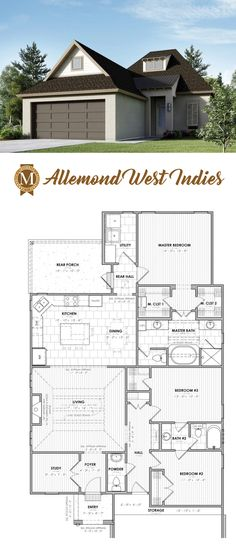 Allemond West Indies Floor Plan Living Sq Ft: 1,790 Bedrooms: 3 Baths: 3  Lake Charles Baton Rouge Lafayette Louisiana