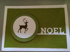 Weihnachtskarte in Olive mit weiss