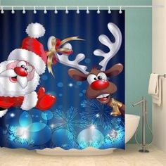 Christmas Santa Elk Print Fabric Waterproof Bath Shower Curtain - DEEP BLUE XL