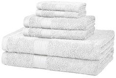AmazonBasics Fade-Resistant Cotton 6-Piece Towel Set White