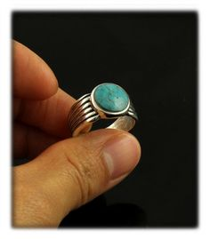 Stormy Mountain Turquoise Saddle Ring