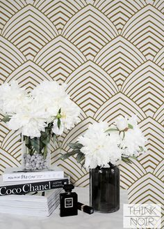 15 % OFF Removable Art Deco Wallpaper / Self Adhesive Geometric Wallpaper / Minimal Wall Mural