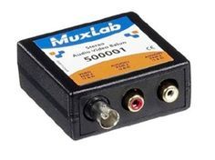 Muxlab 500001 Stereo Audio-Video Balun   A Stereo Audio-Video Balun for transmitting one composite analog video channel and two analog audio channels via Cat 5 cabling (must be used in conjunction with a compatible balun at the other end of the Cat 5 cable)