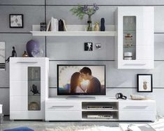 Wohnwand in Weiß Hochglanz mit viel Stauraum   Möbel Jack Gold Office Decor, Something About You, Tv Unit, Floating Shelves, Living Room Designs, Shit Happens, Mansions, Amelie, Home Decor
