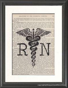Nurse RN Caduceus Medical Print Vintage Medical Book Page - Home Office Hello Nurse, Nurse Love, Nurse Art, Rn Nurse, Vintage Nurse, Vintage Medical, Travel Nursing, Nursing Tips, Nurses Week Quotes