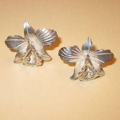 Vintage Silver Orchid Earrings Vintage Earrings by CynthiaVintage