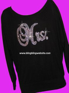 Mrs. Rhinestone OFF the shoulder slouchy soft and comfy FULL BLING shirt Great for Just Married via Etsy