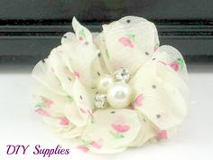 Petite ivory floral chiffon flower with pearl and rhinestone