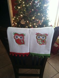 Owls machine embroidery