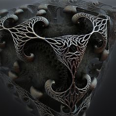Lattice by *mcimages - Deviant Art. Using Mandelbulb 3D. Reminds me of old jewelry.