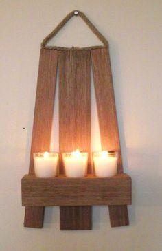 Wall small mahogany candle tea light holderWall by MKKwoodenstuff