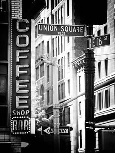 Coffee Shop Bar Sign, Union Square, Manhattan, New York, United States Black And White Picture Wall, Black And White City, Black And White Aesthetic, Black And White Pictures, White Art, White White, Photo Black, Black And White Prints, Photos Vintage