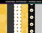 Commercial Use *Instant Download* Digital Papers **HONEYBEE PATTERNED** Scrapbooking Paper Pack