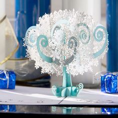 Available now! For those of you that love snow but maybe not the cold   Model: Snowflake tree pop-up