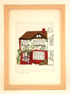 Custom Made FreeMotion Machine Embroidered House Portrait by Naisy bespoke, home sweet home, textile art, sewing, semi-detached