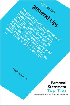 General tips for writing your personal statement
