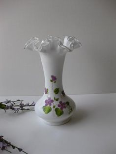 #Vintage Fenton Milk Glass Silver Crest Purple and Green Violets in the Snow Vase. $39.50, via Etsy.